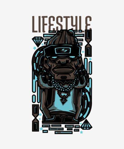 Street Art Style T-Shirt Design Template with a Man Wearing Diamonds 43e-el