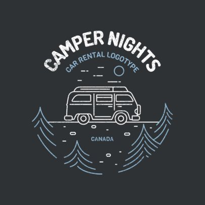 Car Rental Logo Template Featuring a Camper Illustration 2773f