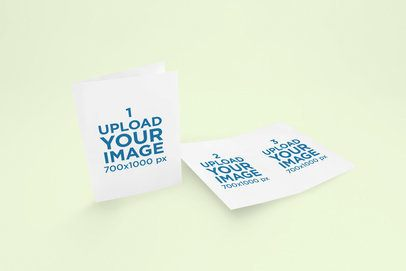 Mockup of Two Bifold Brochures Against a Customizable Background 1516-el