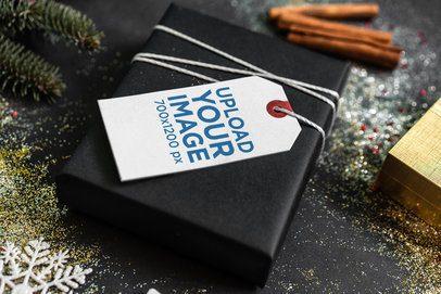 Gift Tag Mockup Featuring a Present on a Christmas Scenario 2080-el1