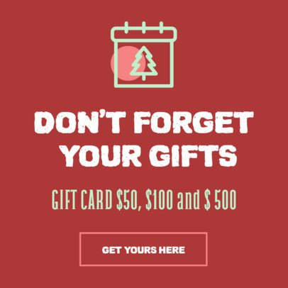 Banner Design Template for a Christmas Gift Card Promo 307b-el