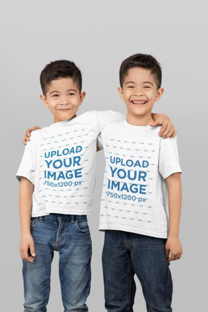 Mockup of Two Twin Boys Wearing T-Shirts in a Studio 31001