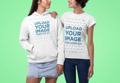 Mockup of a Couple Wearing a Hoodie and a T-Shirt 30397