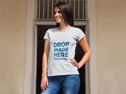 T-shirt Mockup of a Hispanic Woman by the Porch  a8346