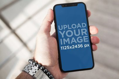 iPhone 11 Pro Mockup Featuring a Man Wearing a Watch 2153-el1