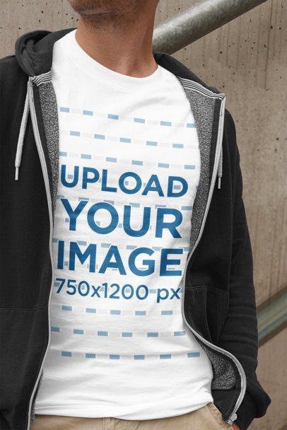 T-Shirt Mockup of a Young Man Wearing Casual Garments 2011-el1