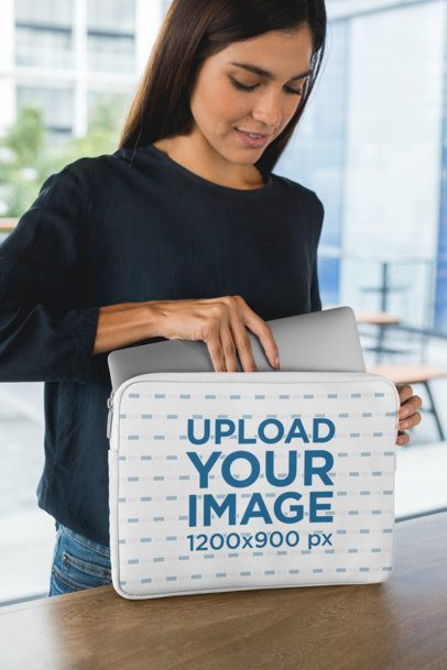 Laptop Sleeve Mockup Featuring a Young Woman 30852