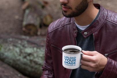 Silver Rim Enamel Mug Mockup Featuring a Cropped Face Bearded Man 30818a