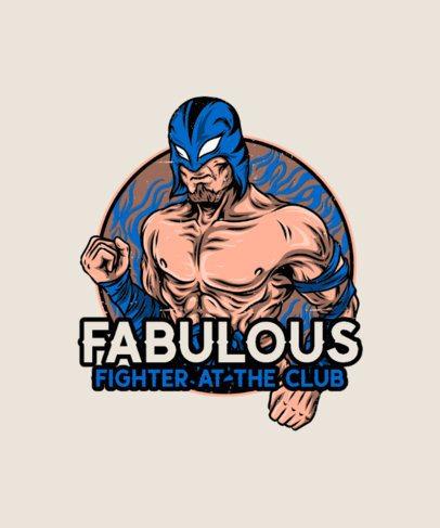 Illustrated T-Shirt Design Template Featuring a Masked Wrestler 38b-el1