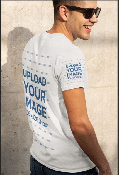 Back-View Mockup of a Man Wearing a Tee with a Customizable Sleeve 30879