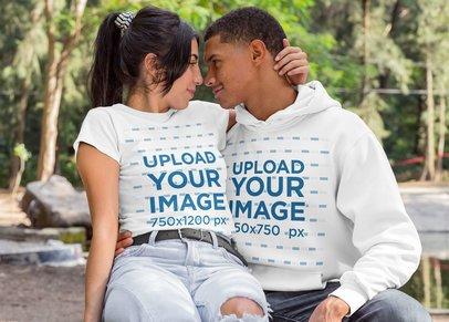 T-Shirt Mockup of a Woman Hugging Her Boyfriend Wearing a Hoodie 30535