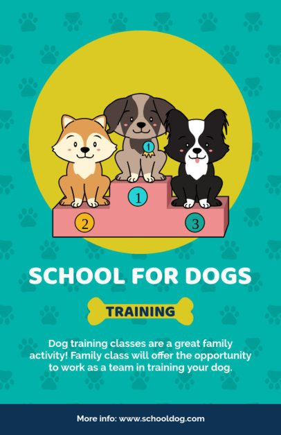 Online Flyer Creator for a School for Dogs with a Paws Pattern 396g-2123