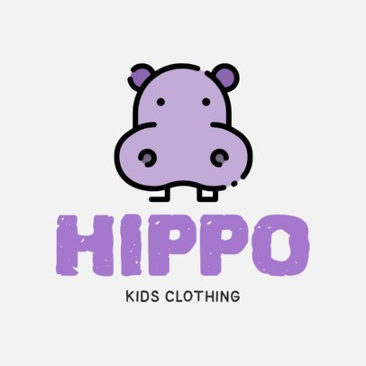 Logo Maker for a Kid's Clothing with a Cute Hippo Clipart 305b-el1