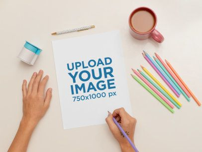 Sketch Paper Mockup Featuring a Woman Coloring 31038