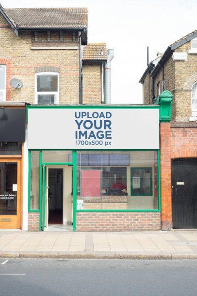 Storefront Banner Mockup on a Green Store 582-el1