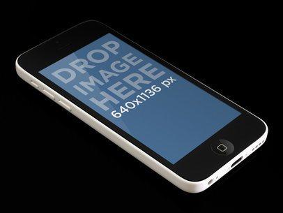 iPhone 5c Portrait White On Black Surface
