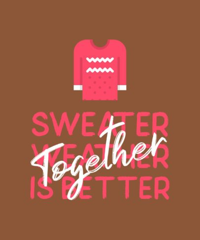 Xmas T-Shirt Template with a Sweater Graphic 321a-el1