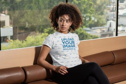 Mockup of a Curly-Haired Woman Wearing a Sublimated T-Shirt 311149