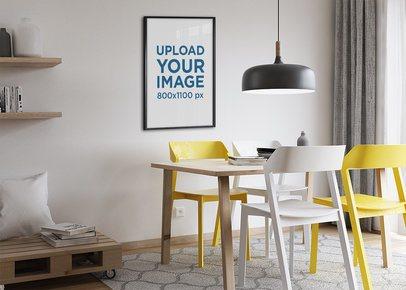 Mockup of a Poster Frame Hanging on a Modern Living Room 1969-el1