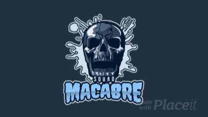 Animated Gaming Logo Template Featuring a Spooky Skull Clipart 1750s 2361