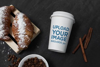 Mockup of a Coffee Cup Placed by Some Pastries 2183-el1
