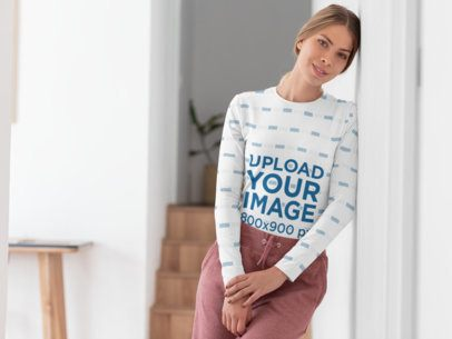Sublimated Long Sleeve Tee Mockup Featuring a Woman at Home 31265