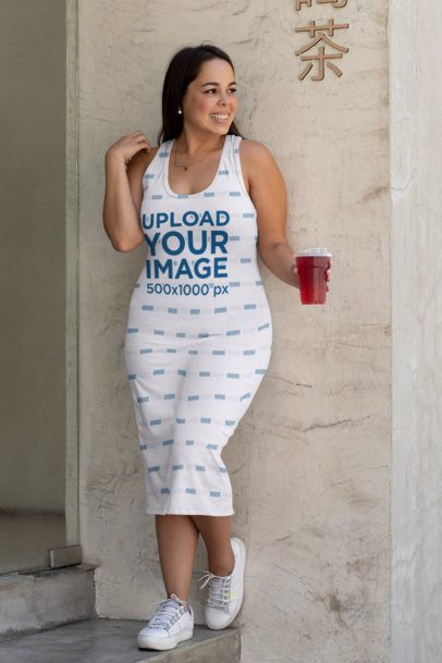 Mockup of a Woman Wearing a Plus Size Racerback Dress 31068