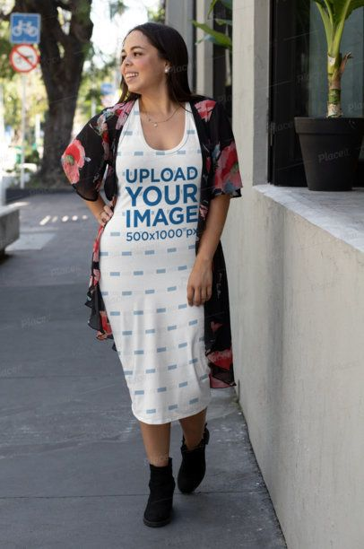 Plus Size Racerback Dress Mockup Featuring a Smiling Woman Walking on a Street 31069