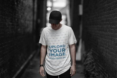 T-Shirt Mockup of a Cool Man Posing in a Dark Alley 2357-el1