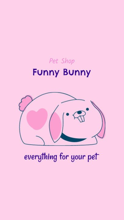Instagram Story Template for a Pet Shop Featuring a Bunny Graphic 2145c