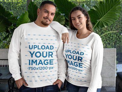 Mockup of a Couple Wearing Plus Size Long Sleeve Shirts 31063