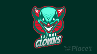 Animated Logo Maker for Gaming Teams Featuring an Evil Clown Illustration 2407b-2857