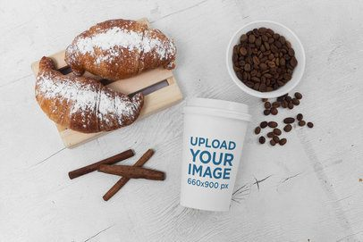 Coffee Cup Mockup Featuring Pastries and Coffee Beans 2184-el1