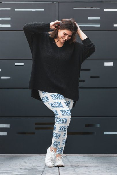 Plus Size Mockup of a Woman with Sublimated Leggings Holding Her Hair 30962