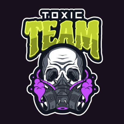 Gaming Logo Template Featuring an Illustrated Skull with a Respirator 1869s-2883
