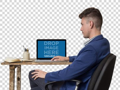 Office Man Working on His MacBook Pro Mockup a11722
