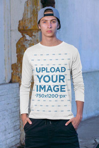 Long Sleeve Tee Mockup Featuring a Man in an Urban Look 31132