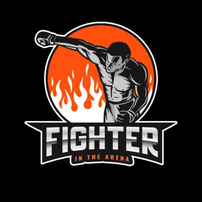 Sports Logo Template with a Courageous MMA Fighter Surrounded by Flames 2852f