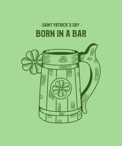 St Patricks Day T-Shirt Design Generator with a Wooden Beer Jar 2168b