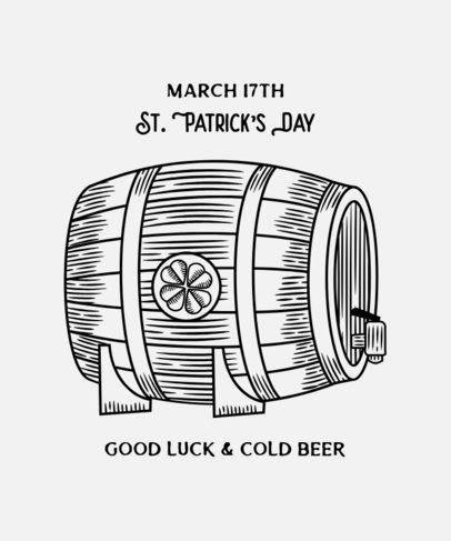 T-Shirt Design Template with a St Patricks Day Beer Barrel 2168e