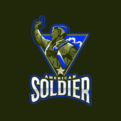 Gaming Logo Maker Featuring a Vintage Soldier Clipart 2449ii-2889