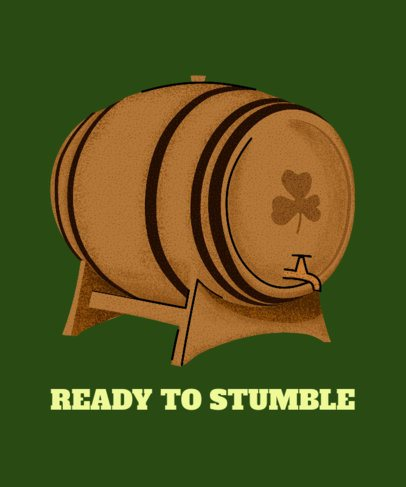 T-Shirt Design Template with the Graphic of an Irish Beer Barrel 2167h