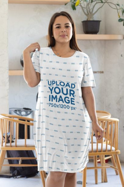 Plus Size Mockup of a Woman Wearing a Sublimated Dress at a Home 31072