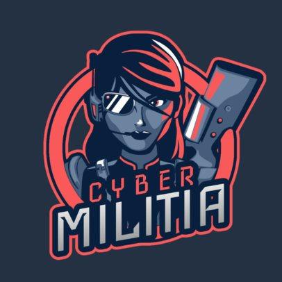 Free Fire-Allusive Logo Creator Featuring a Female Cyber-Soldier 2637s-2891
