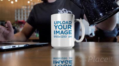 Video of a Man Pouring Hot Coffee Into a 15 oz Mug 31588