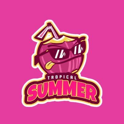 Sports Logo Template Featuring a Tropical Coconut Character 523bb-2892
