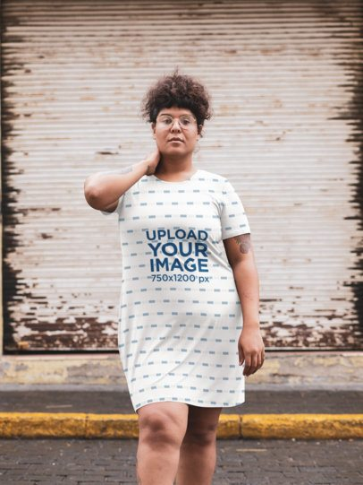 Mockup of a Woman Wearing a Plus Size Dress at an Urban Scenario 30952