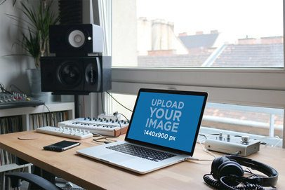 MacBook Mockup Featuring Audio Producing Equipment 2445-el1