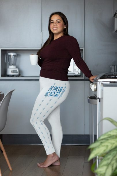 Plus Size Leggings Mockup Featuring a Smiling Woman in Her Kitchen 31030