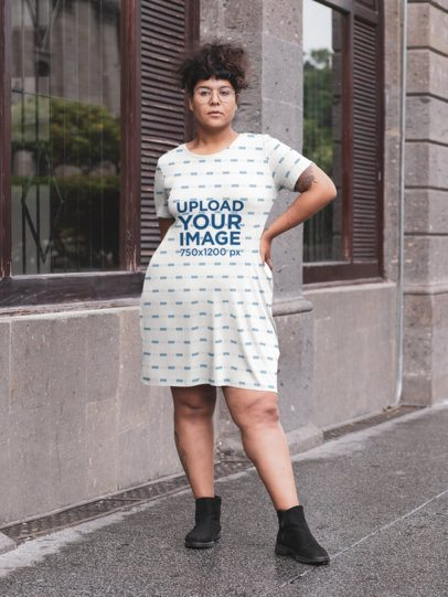 Sublimated Mockup of a Woman Wearing a Plus Size Dress on the Street 30953